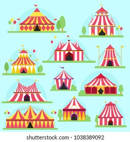 Circus vector tent facade marquee marquee stripes flags carnival entertainment balloons lelements flat illustration. Circus red tents entertainment. Carnival festival park arena celebration