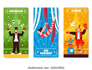 Circus vertical banners with colorful artwork and flat artist characters with stars and decorative text descriptions vector illustration