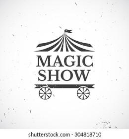 Circus vintage badge, magic show vector illustration