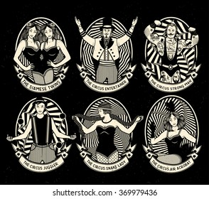 Circus. Vintage icons collection. The strong man, The siamese twins, The Entertainer, The  Air Acrobat, The Snake Lady, The Juggler. Vector illustration.