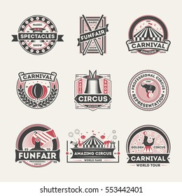 Circus vintage isolated label set vector illustration. Amazing carnival symbol, original magic show icon, professional circus logo. World tour spectacle and funfair, circus badge collection