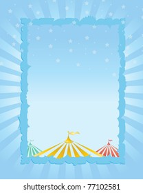 circus vintage poster. blue background