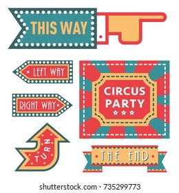 Circus vintage signboard labels banner vector illustration entertaining ticket sign