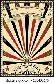 Circus vintage sunbeams. A retro circus poster for your advertising