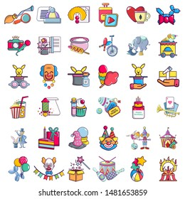 Circus zone icons set. Cartoon set of 36 circus zone vector icons for web isolated on white background