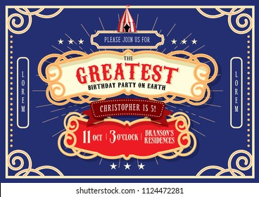 circus/carnival/fairground birthday invitation card template design vector/illustration