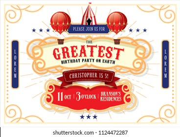 circus/carnival/fairground birthday invitation card template design vector/illustration