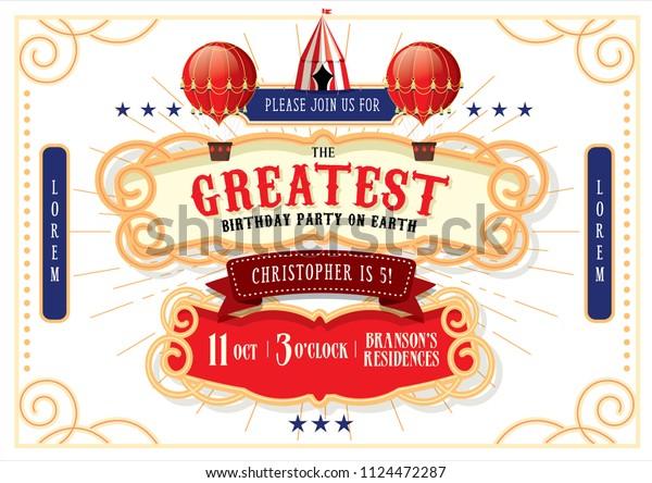 Circuscarnivalfairground Birthday Invitation Card Template