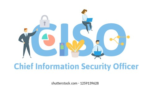 CISO, Chief Information Security Officer. Concept with keywords, letters, and icons. Colored flat vector illustration. Isolated on white background.