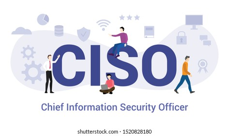 ciso chief information security officer concept with big word or text and team people with modern flat style - vector
