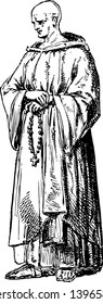 Cistercian Monk sometimes called the White Monks and is a Roman Catholic religious order of enclosed monks vintage line drawing or engraving illustration.