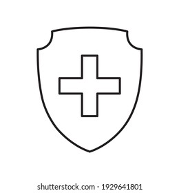 The cit icon with a cross. The concept of medical protection against viruses and bacteria and other diseases. Medical insurance. Vector illustration isolated on a white background for design and web.