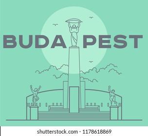 Citadel in Budapest capital icon. Vector art illustration flat design. Citadella fortress famous architectural landmark. Historical Hungarian fortification in Buda, tourist destination.