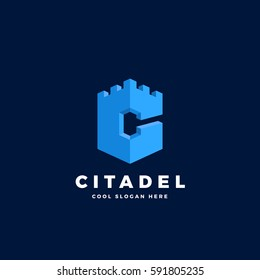 Citadel, Castle or Tower in the Form of Letter C. Abstract Vector Sign, Emblem or Logo Template. On Blue Background.