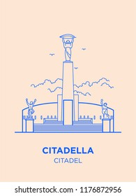 Citadel in Hungary capital icon. Vector art illustration flat design. Citadella fortress in Budapest famous architectural landmark. Historical Hungarian fortification in Buda, tourist destination.