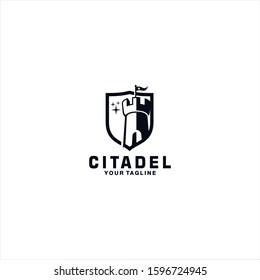Citadel and shield logo design template