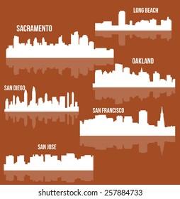 Cities in California ( Sacramento, San Diego, San Jose, Oakland, Long Beach, San Francisco )