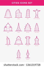 Cities and countries icon set - Pack Icon for travel - Paris, Yucatan , Rome, Pisa, Rio de Janeiro, Agra, Beijing, New York, Dubai, Giza Egypt, Athens, Moscow, London, Berlin - Vector Illustration