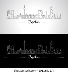 Cities of europe. Berlin skyline with characteristic buildings and monuments of the city. Doodle style. Vector illustration.