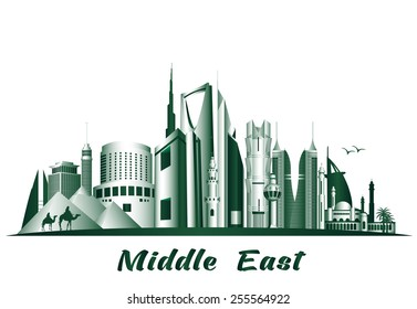 Cities and Famous Buildings in Middle East. Editable Vector Illustration