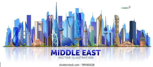 Cities and Famous Buildings in Middle East. Skyline  Middle East. Vector Illustration. Main buildings of Istanbul, Dubai, Kuwait, Manama, Abu Dhabi, Riyadh and Doha.