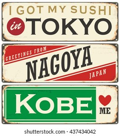 Cities in Japan retro tin signs collection. Travel souvenirs on old damaged background. Vintage vector souvenir sign or postcard templates.