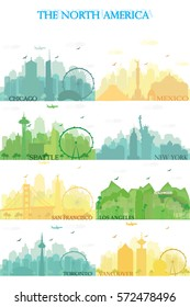 Cities of the North America with famous landmarks. Collection of color silhouettes. Flat style vector illustration.