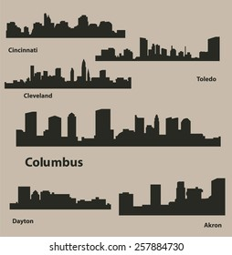 Cities in Ohio (Columbus, Akron, Toledo, Dayton, Cincinnati, Cleveland )