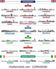 Cities skylines of British Isles countries: United Kingdom (England, Wales, Scotland, Northern Ireland) and Republic of Ireland. All elements separated in editable and detachable layers. Vector