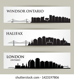 Cities skylines in Canada - Windsor Ontario, Halifax, London - isolated vector illustration