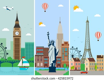 Cities skylines design with landmarks. London, Paris and New York cities skylines design with landmarks. Flat landscapes. Vector illustration.