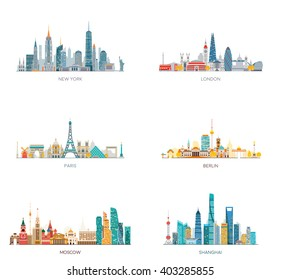 Cities skylines set. New York, London, Paris, Berlin, Moscow, Shanghai.  Vector illustration, flat style.