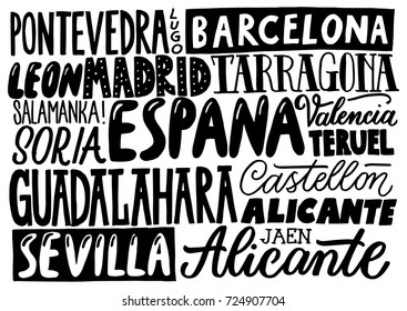 Cities of Spain. Hand drawn lettering poster. Typographic design of lettering bord. European cities.