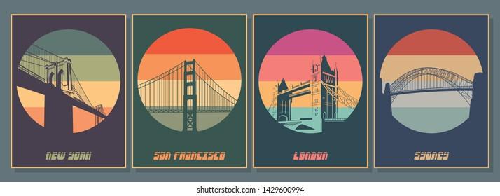 Cities Symbols - Bridges Posters Set, Brooklyn Bridge, Tower Bridge, Golden Gate, Harbour Bridge Emblems, Logos, Icons, Vintage Colors