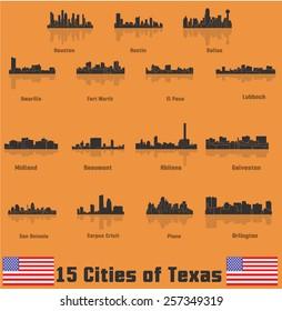 Cities of Texas ( Amarillo, Fort Worth, El Paso, Houston, Austin, Dallas, San Antonio, Plano, Corpus Cristi, Galveston, Abilene, Arlington, Lubbock, Midland, Beaumont )