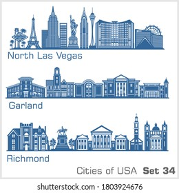 Cities of USA - North Las Vegas, Garland, Richmond. Detailed architecture. Trendy vector illustration.