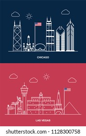Cities in USA, Skyline, Chicago and Las Vegas