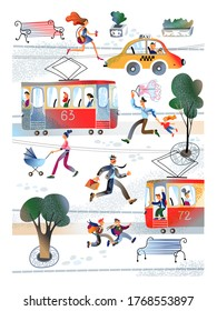Citizen people hurry on urban transport. Characters man and woman running on tramway or taxi. Passengers transportation, modern city lifestyle, cityscape, road traffic concept. Vector illustration