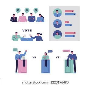 Citizens debating candidates for voting and voting. flat design style vector graphic illustration.