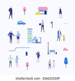 Citizens - flat design style set of isolated elements on white background for creating your own images. Cute cartoon characters in different poses. A collection with buildings, trees, lanterns, roads