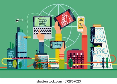 Citizens hands using mobile devices for online shopping abstract vector background, banner or header image. Cool online market and Internet auction concept business illustration. Electronic commerce