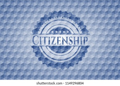Citizenship blue polygonal emblem.