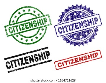 CITIZENSHIP seal imprints with distress style. Black, green,red,blue vector rubber prints of CITIZENSHIP tag with grunge style. Rubber seals with circle, rectangle, rosette shapes.