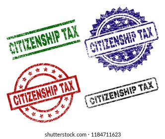 CITIZENSHIP TAX seal prints with corroded surface. Black, green,red,blue vector rubber prints of CITIZENSHIP TAX label with grunge surface. Rubber seals with circle, rectangle, medallion shapes.