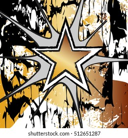 Citrine colored rock n roll grunge star vector background