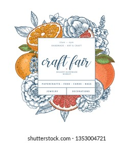 Citrus and flowers colored design template. Engraved  botanical style illustration. Vector illustration