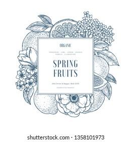 Citrus and flowers design template. Engraved style illustration. Orange, flowers, peonies, roses, lemon, tangerine. Vector illustration