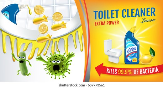 Citrus fragrance toilet cleaner ads. Cleaner bobs kill germs inside toilet bowl. Vector realistic illustration. Horizontal banner.