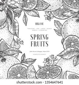 Citrus frame design template. Engraved style illustration. Orange, flowers, lemon, tangerine, grapefruit. Vector illustration