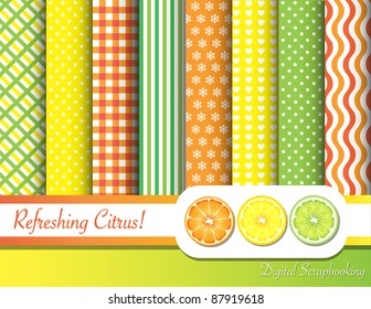 Citrus fruit  digital scrapbooking ribbon swatches in with border and fruit slices. EPS10 vector format.